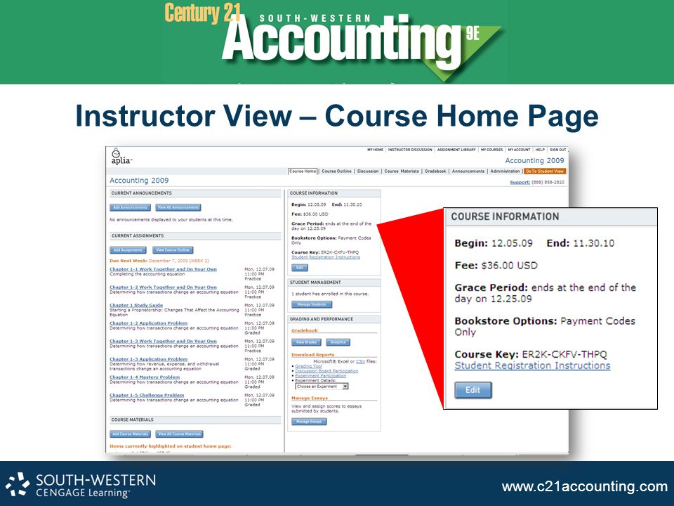 Instructor View – Course Home Page