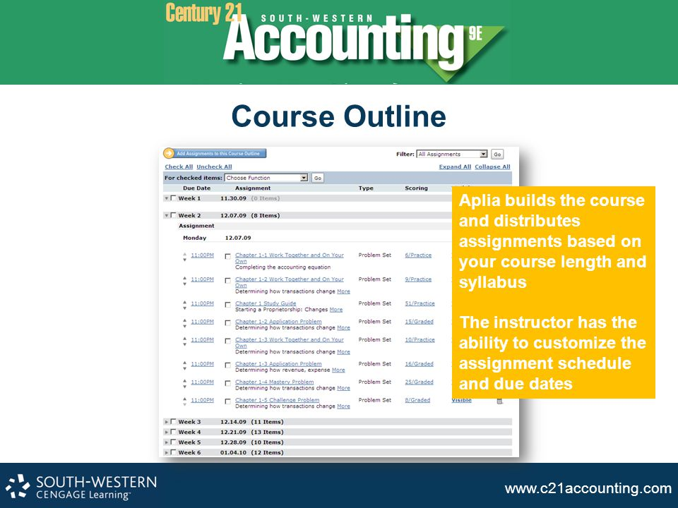 Course Outline Aplia builds the course and distributes assignments based on your course length and syllabus.