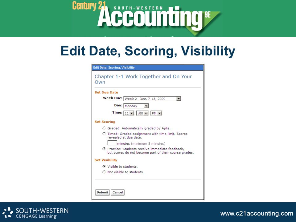 Edit Date, Scoring, Visibility