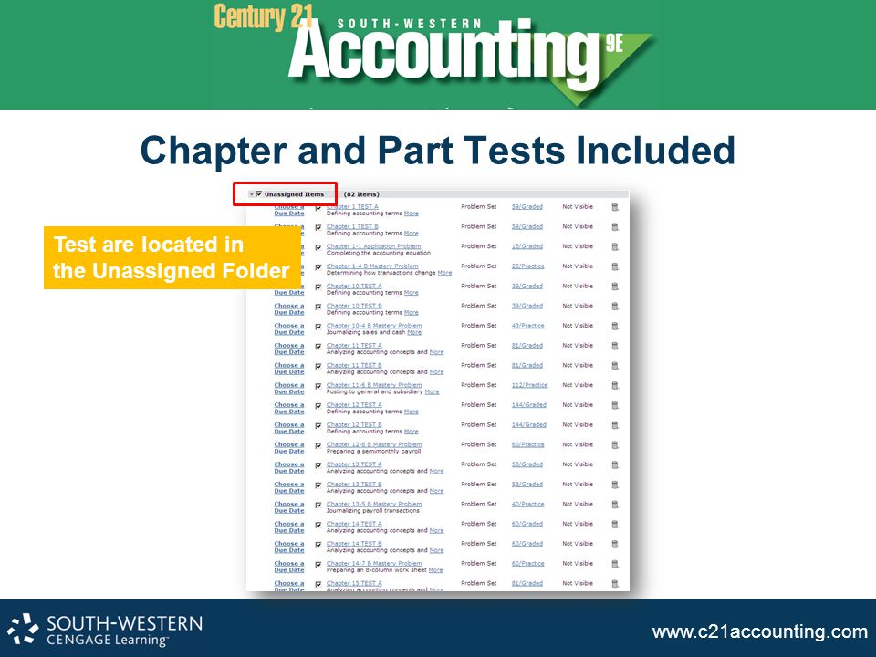 Chapter and Part Tests Included