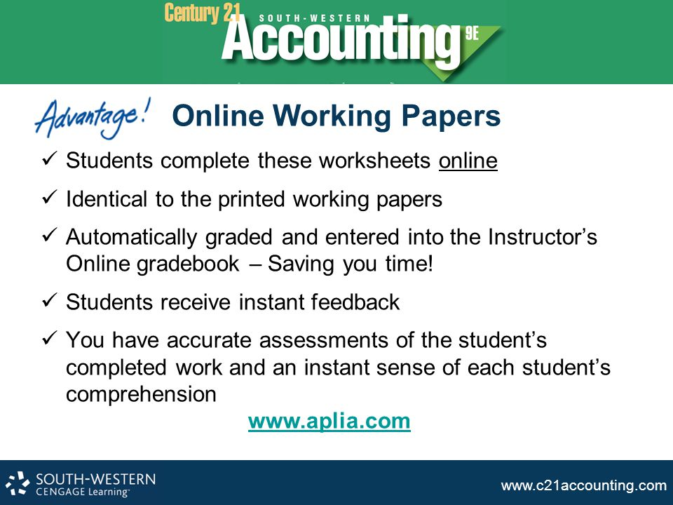 Online Working Papers Students complete these worksheets online