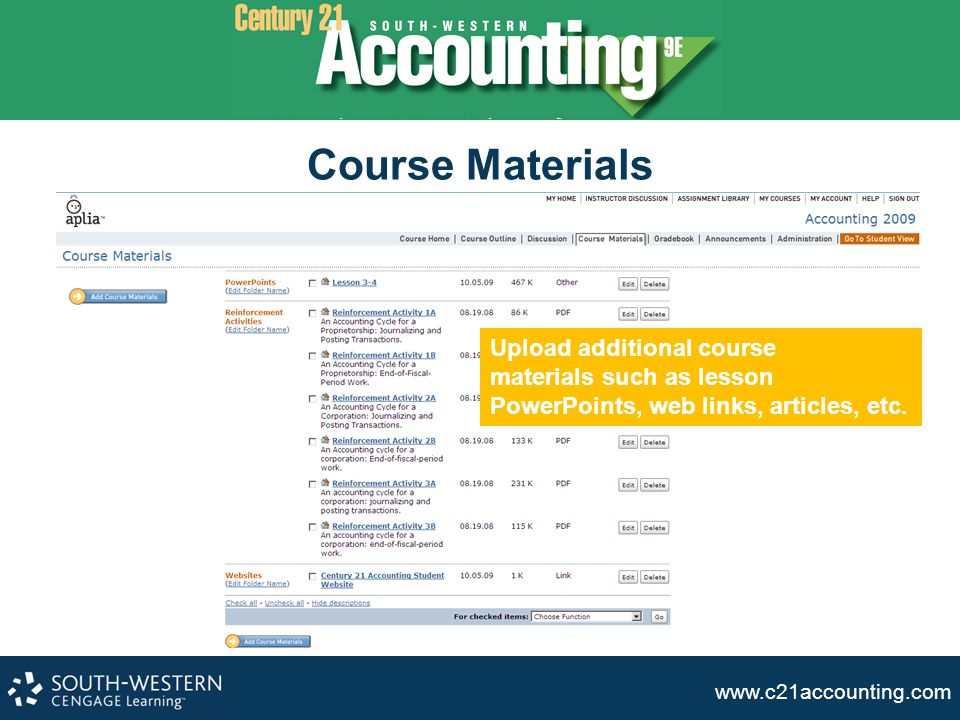 Course Materials Upload additional course materials such as lesson