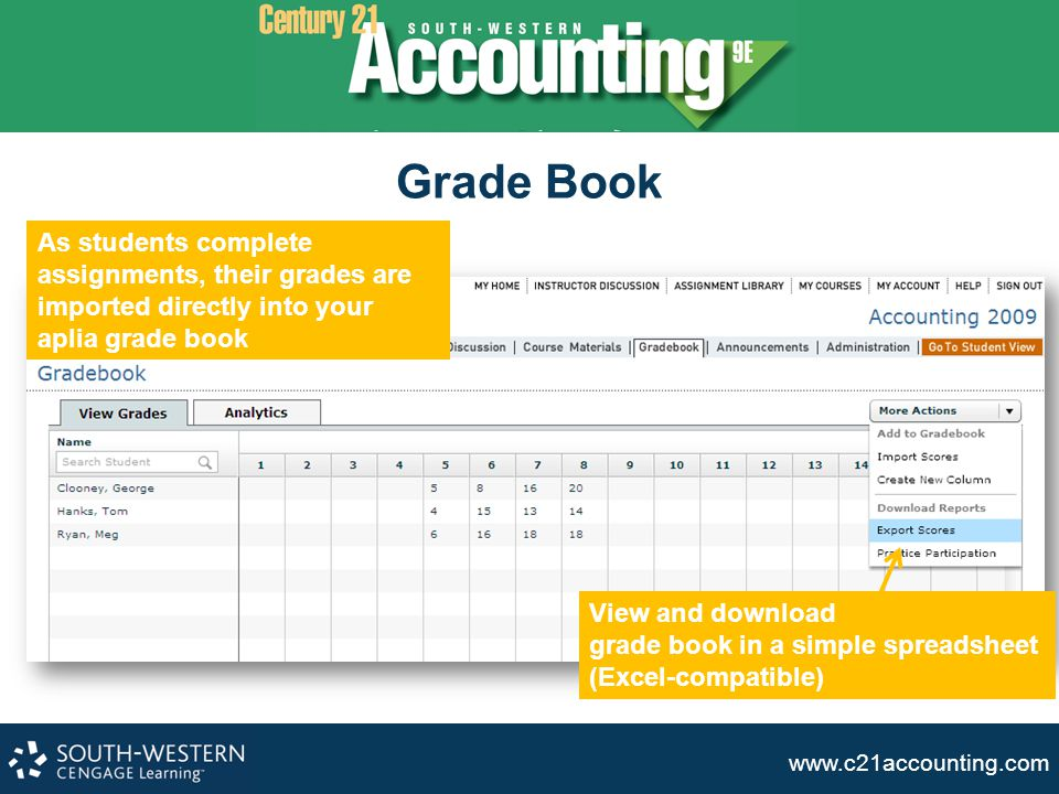 Grade Book As students complete assignments, their grades are imported directly into your aplia grade book.
