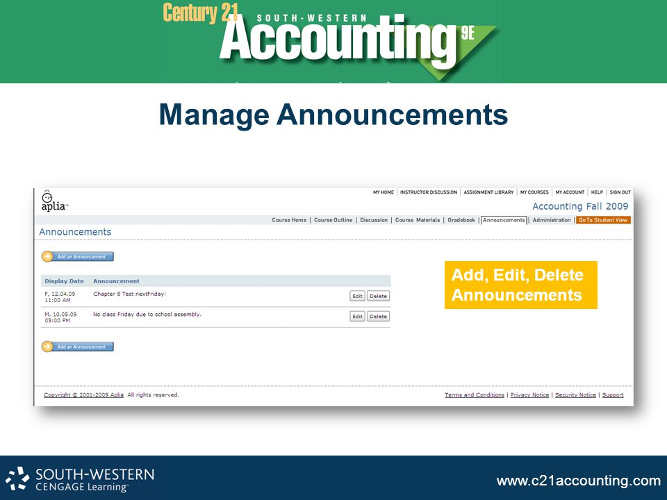 Manage Announcements Add, Edit, Delete Announcements