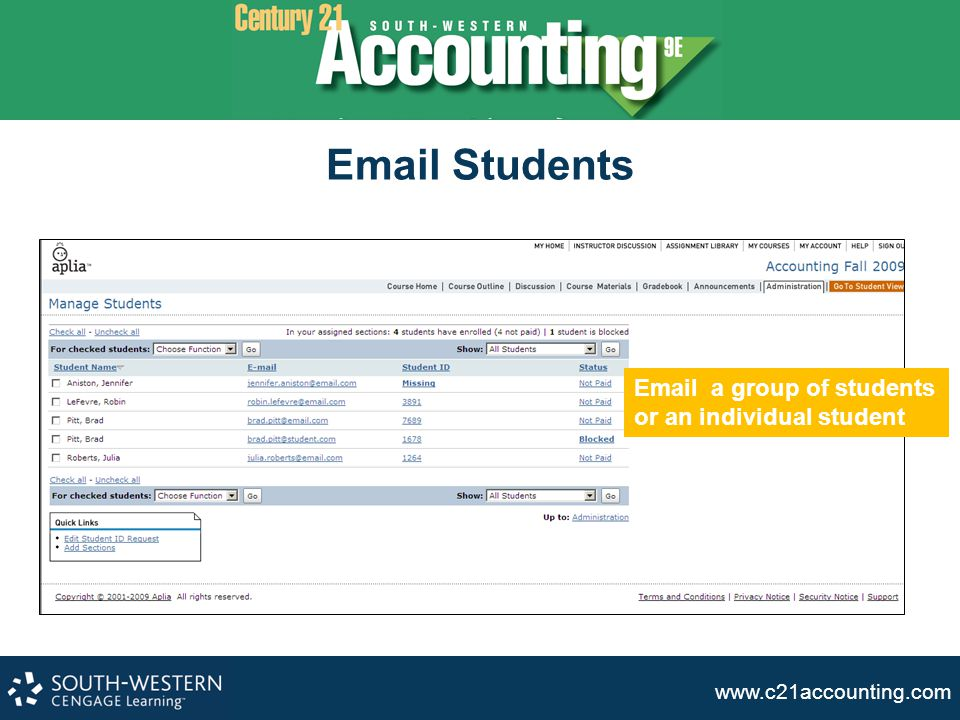 Email Students Email a group of students or an individual student