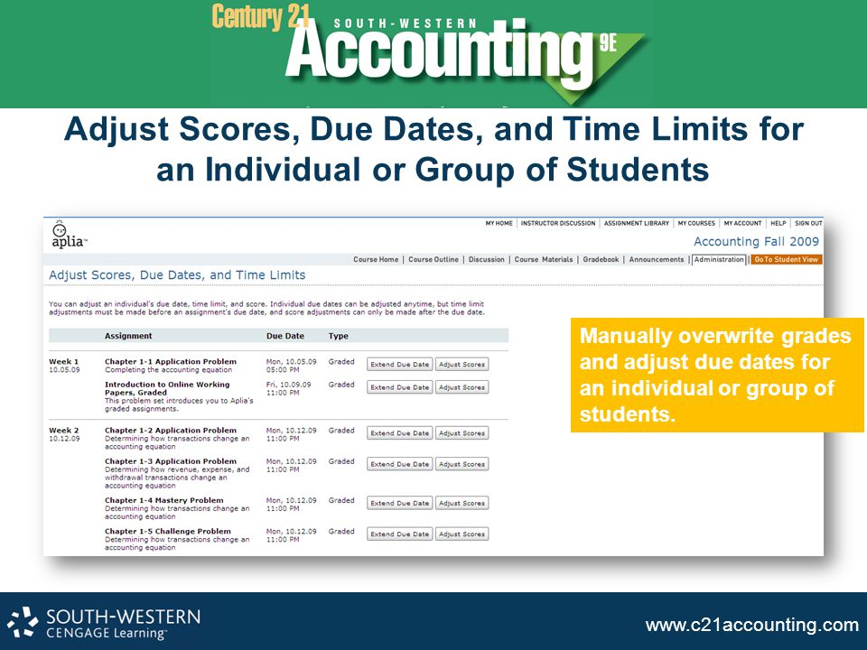 Adjust Scores, Due Dates, and Time Limits for an Individual or Group of Students