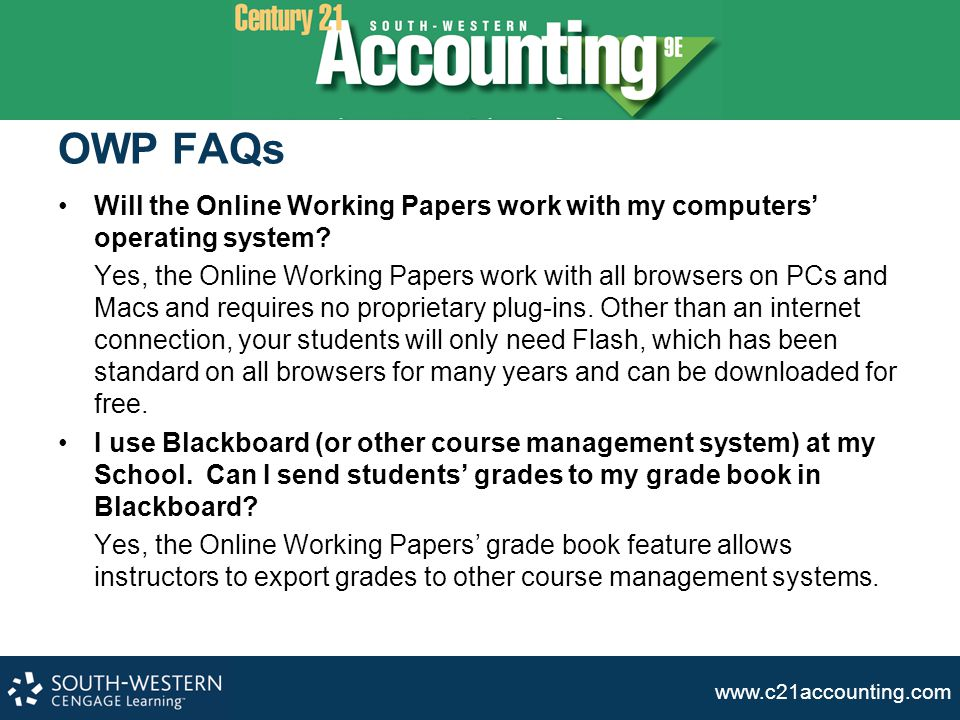 OWP FAQs Will the Online Working Papers work with my computers' operating system