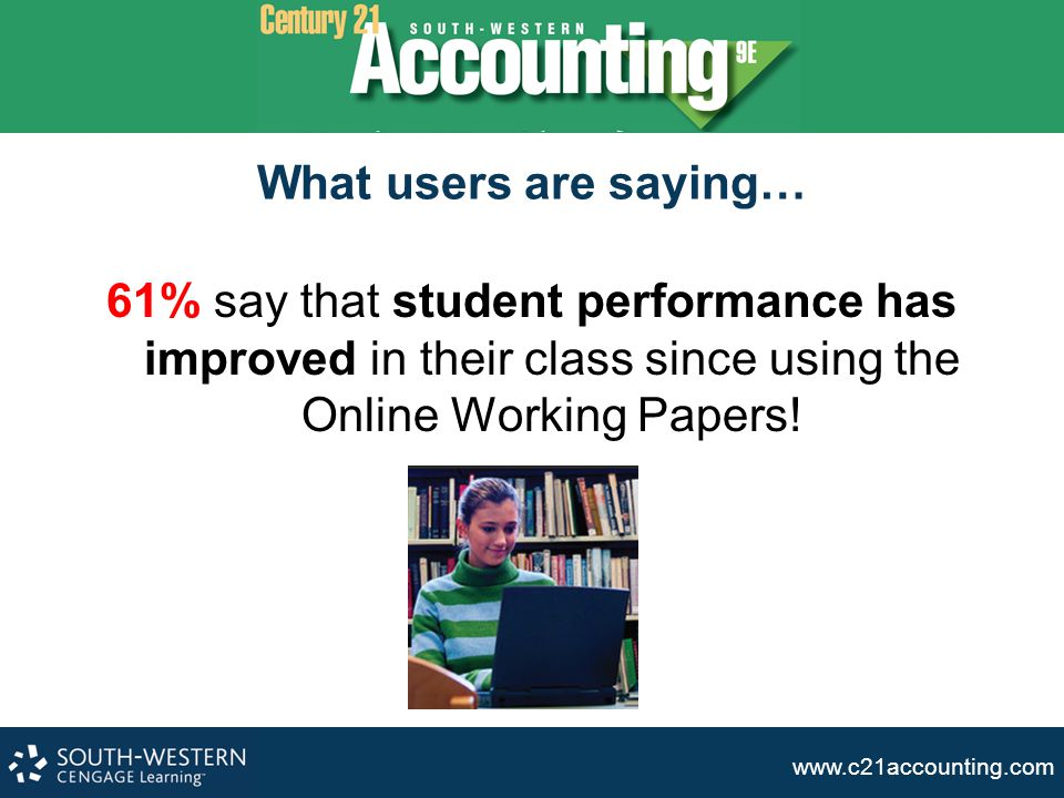 What users are saying… 61% say that student performance has improved in their class since using the Online Working Papers!