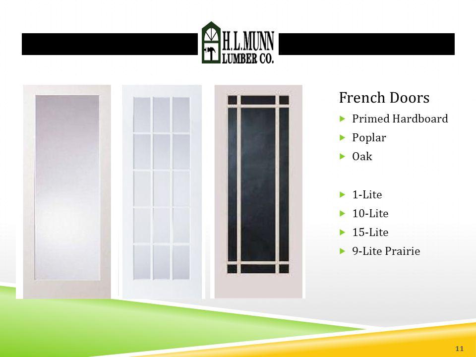 French Doors Primed Hardboard Poplar Oak 1-Lite 10-Lite 15-Lite