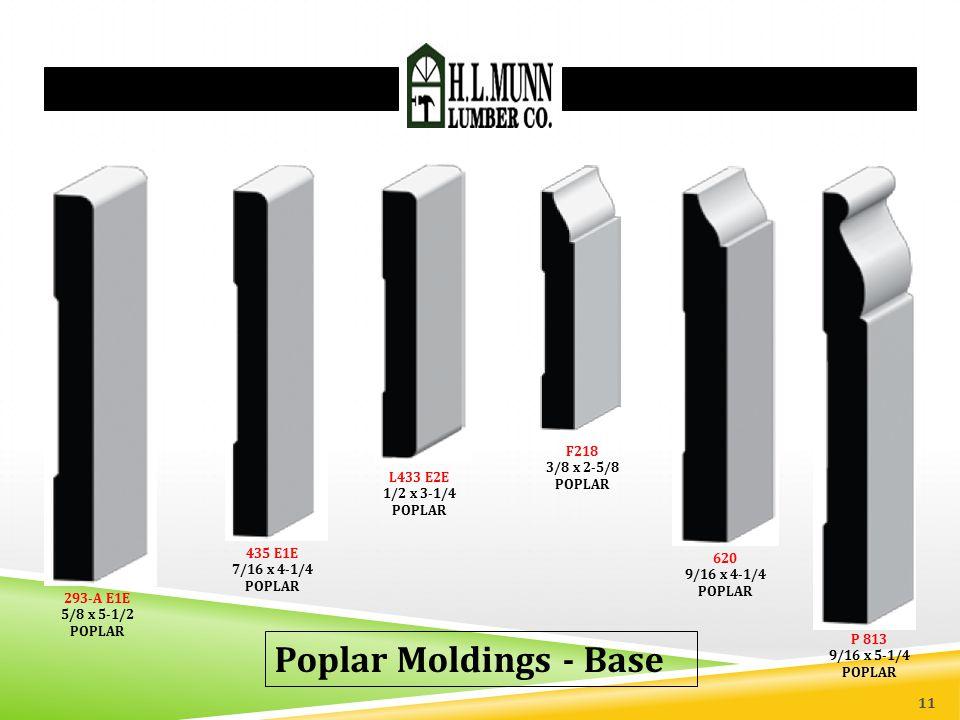 Poplar Moldings - Base F218 3/8 x 2-5/8 POPLAR L433 E2E 1/2 x 3-1/4