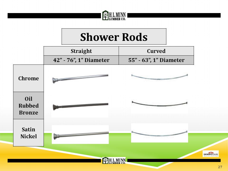Shower Rods Straight Curved 42 - 76 , 1 Diameter