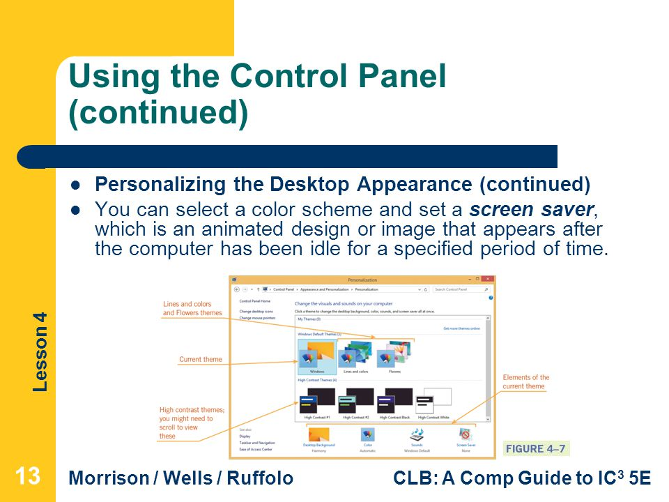 Using the Control Panel (continued)