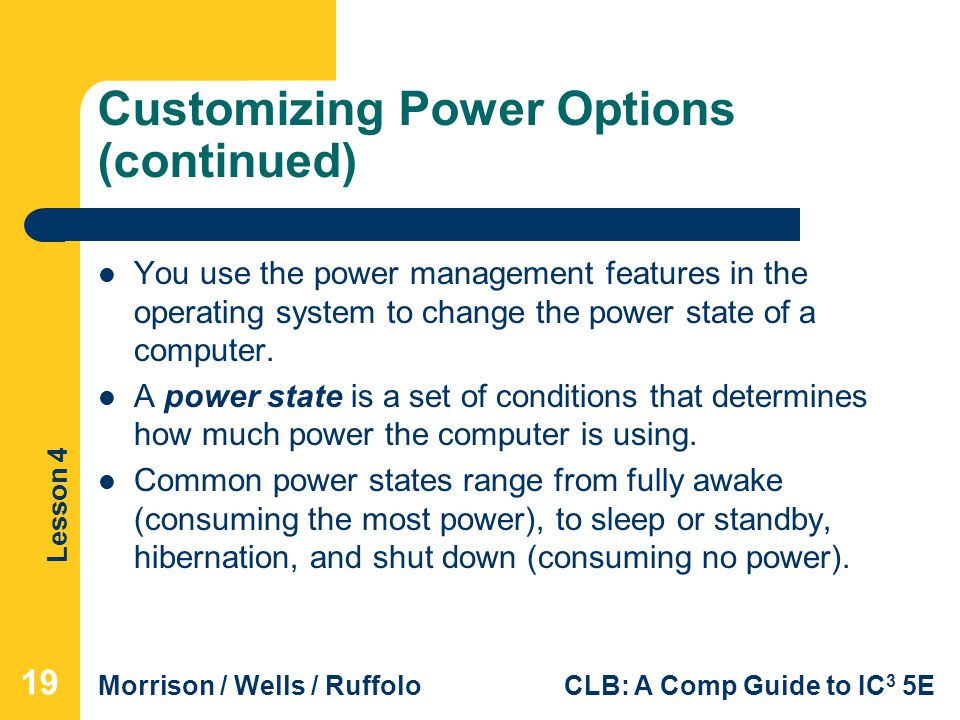 Customizing Power Options (continued)