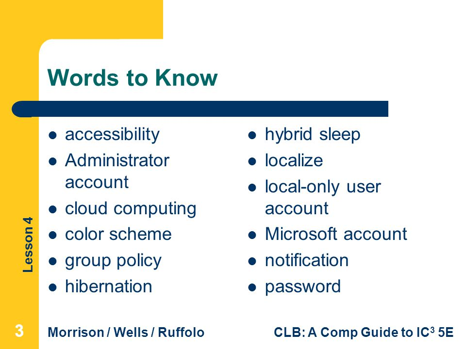 Words to Know accessibility Administrator account cloud computing