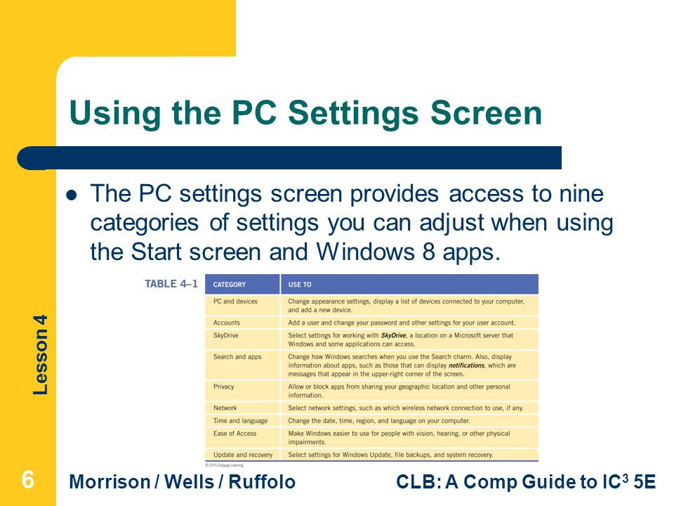 Using the PC Settings Screen