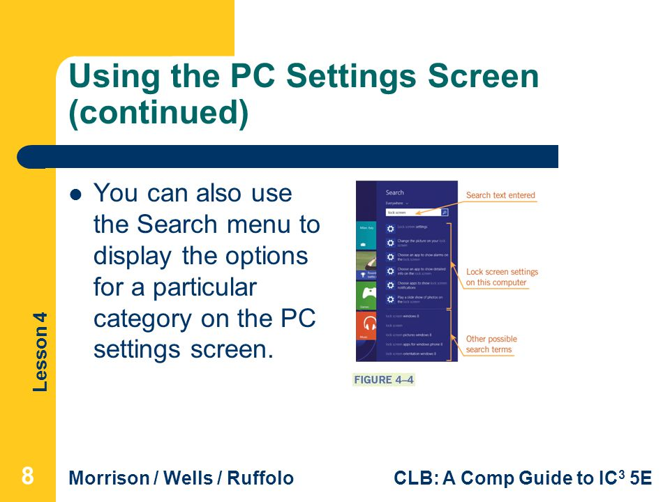 Using the PC Settings Screen (continued)