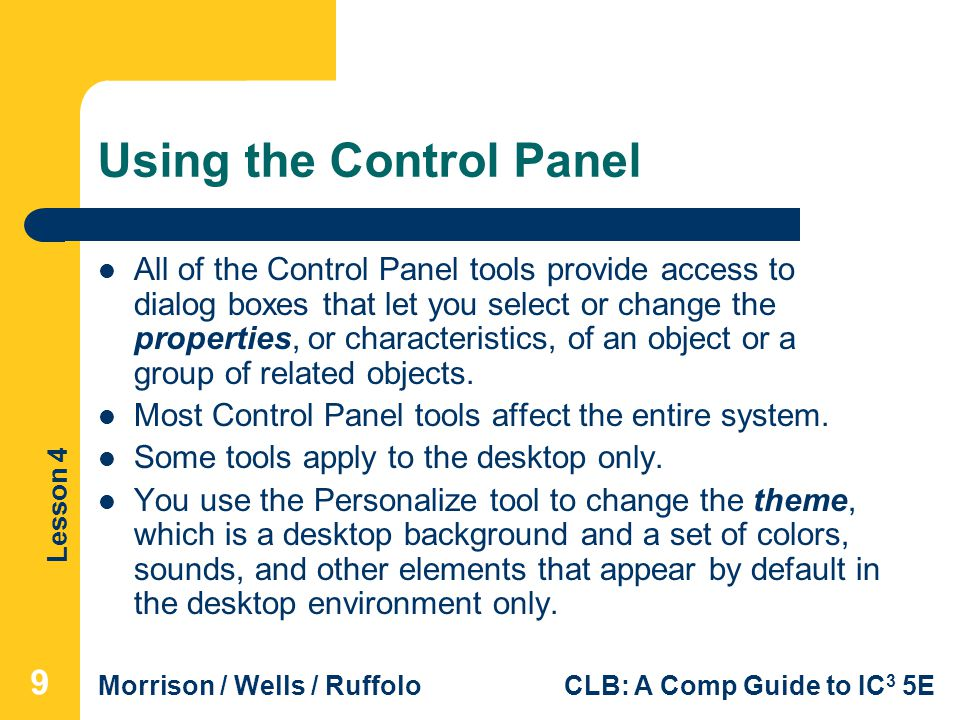 Using the Control Panel