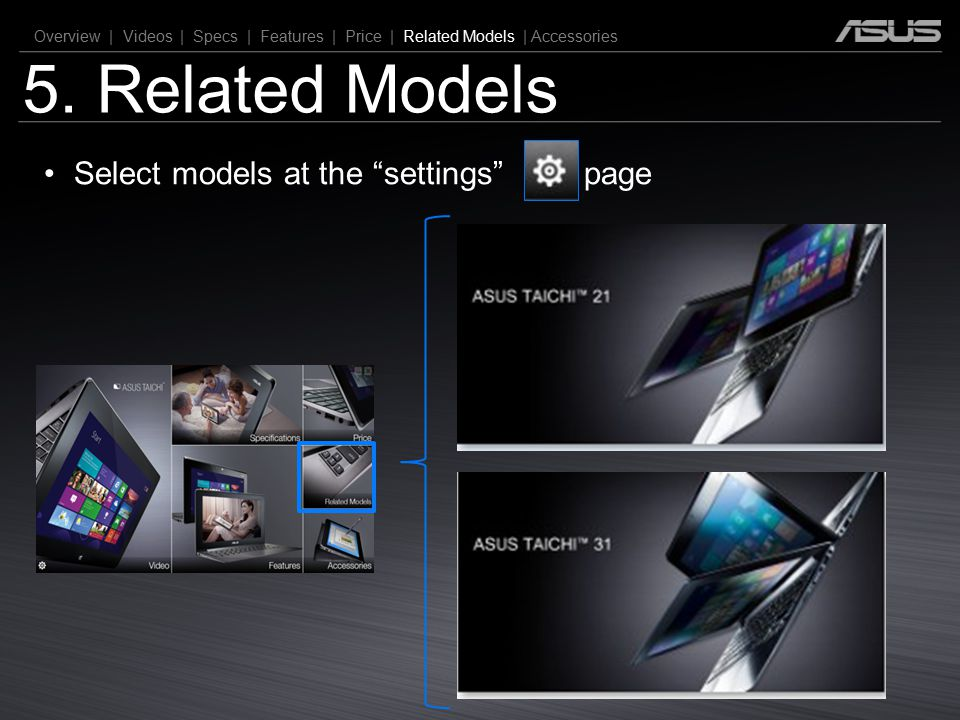 5. Related Models Select models at the settings page