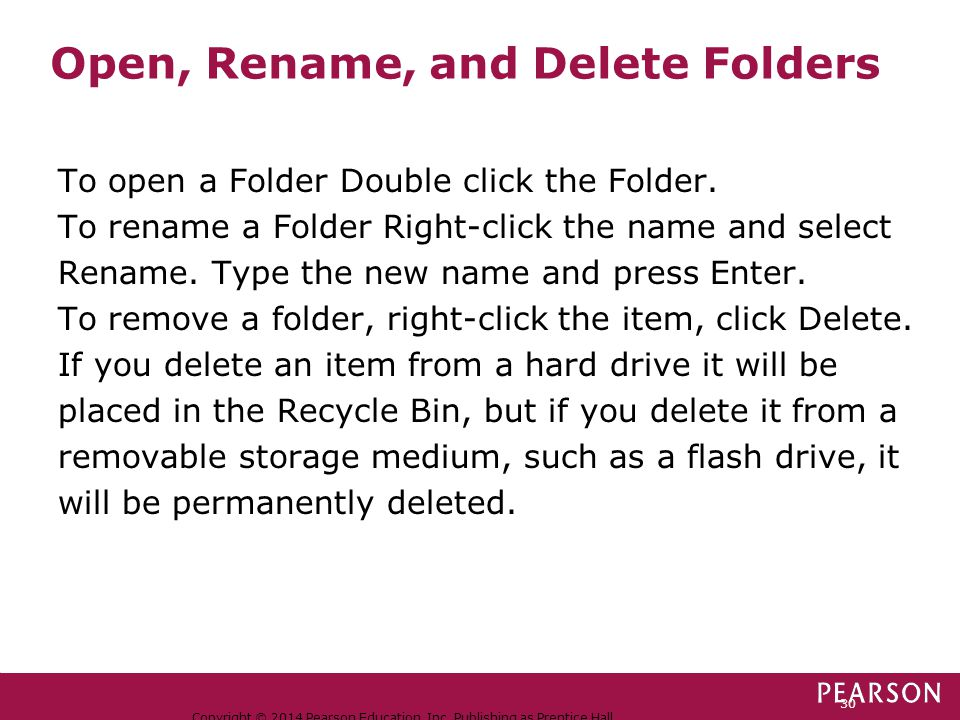 Open, Rename, and Delete Folders