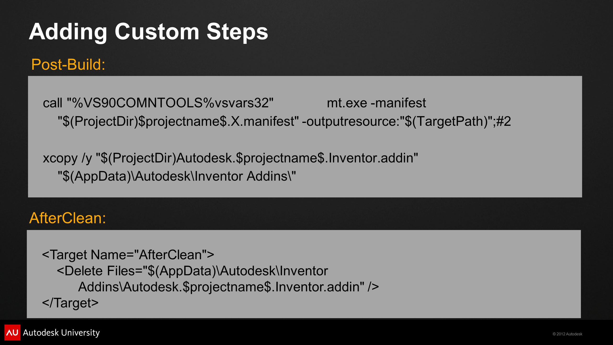Adding Custom Steps Post-Build: AfterClean: