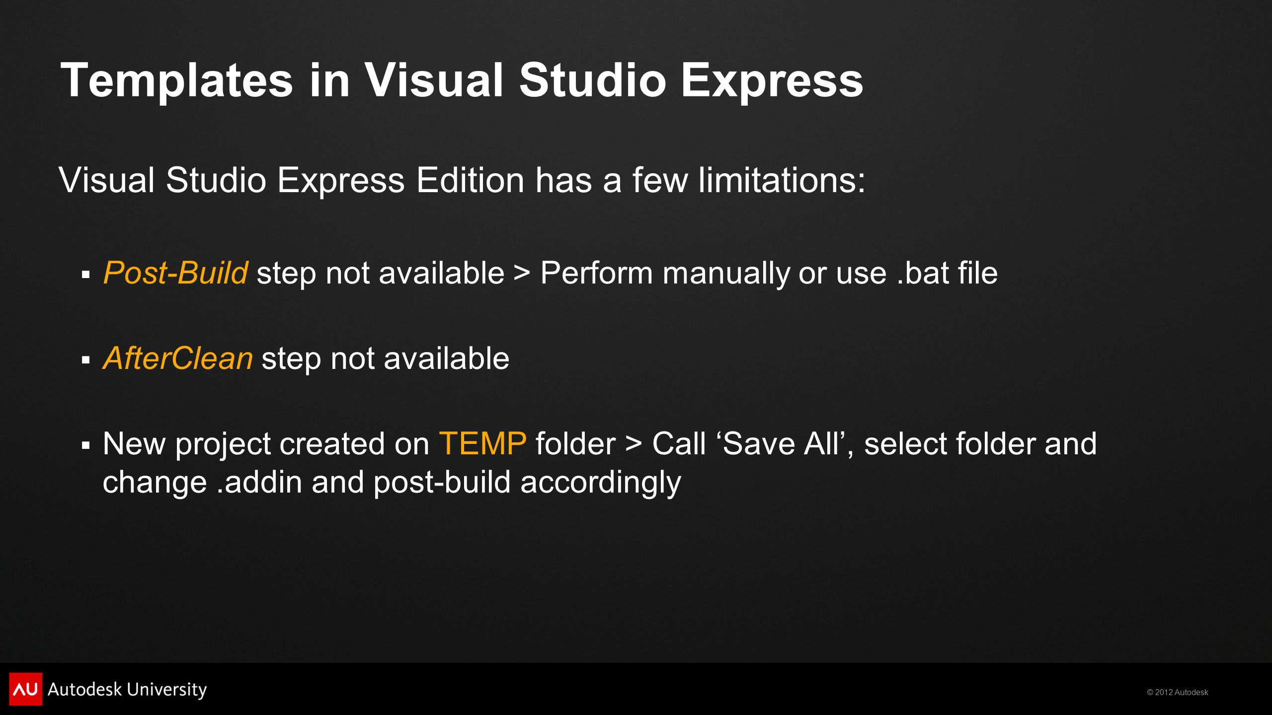 Templates in Visual Studio Express