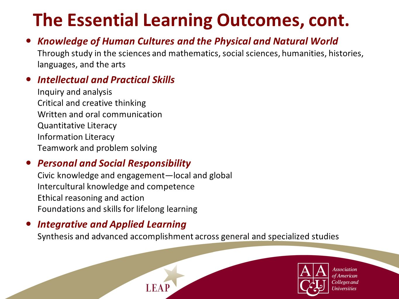The Essential Learning Outcomes, cont.