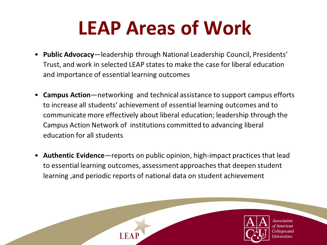 LEAP Areas of Work