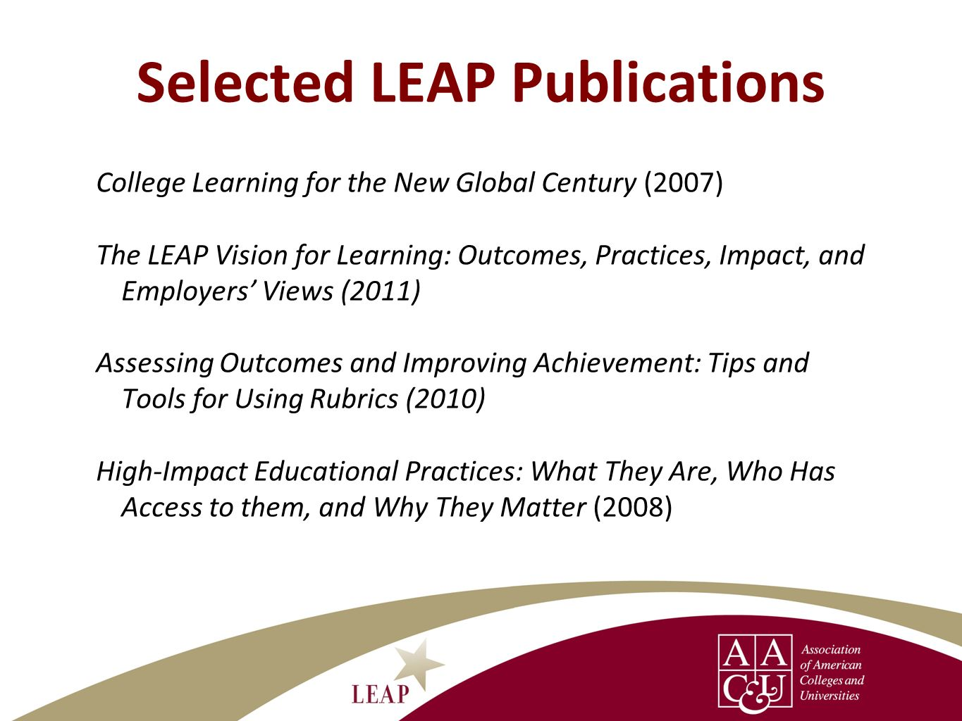 Selected LEAP Publications
