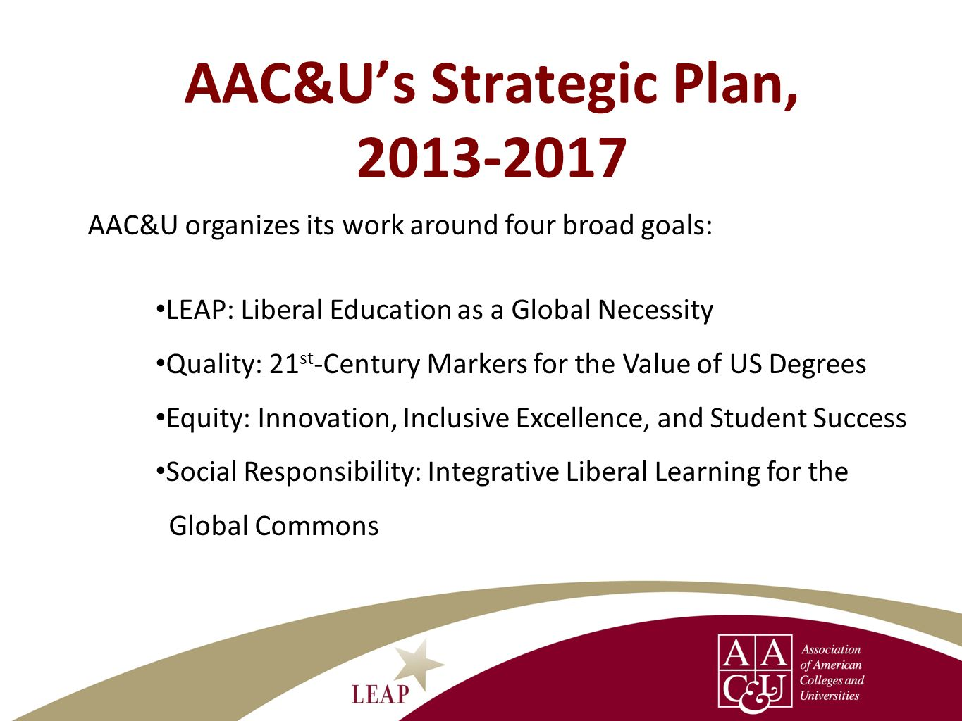 AAC&U's Strategic Plan,