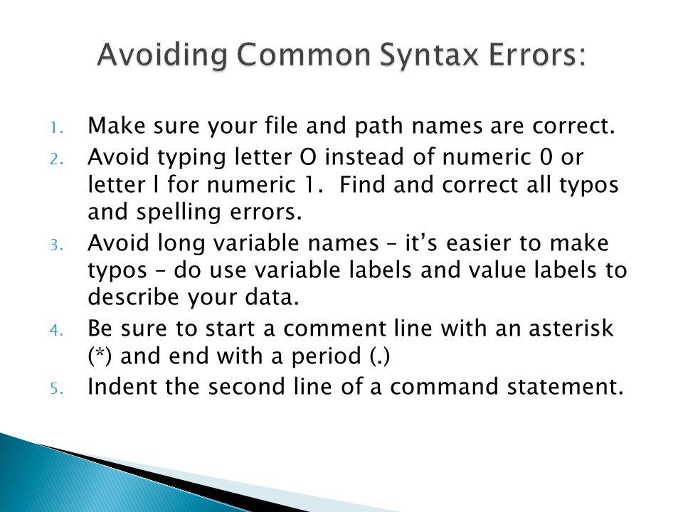Avoiding Common Syntax Errors: