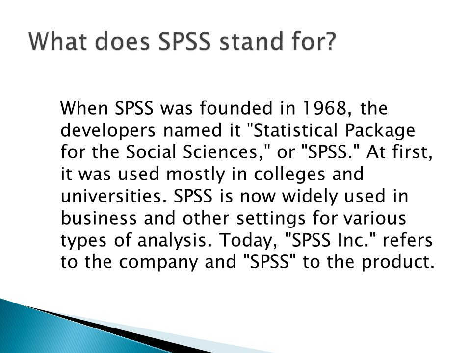 What does SPSS stand for