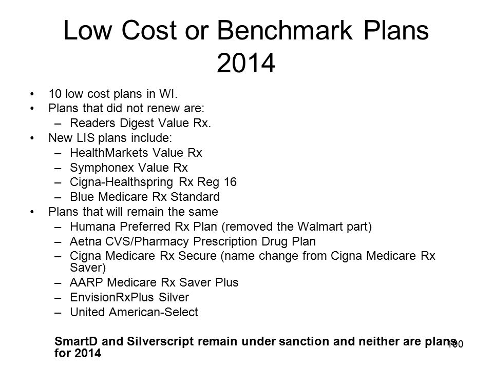Low Cost or Benchmark Plans 2014
