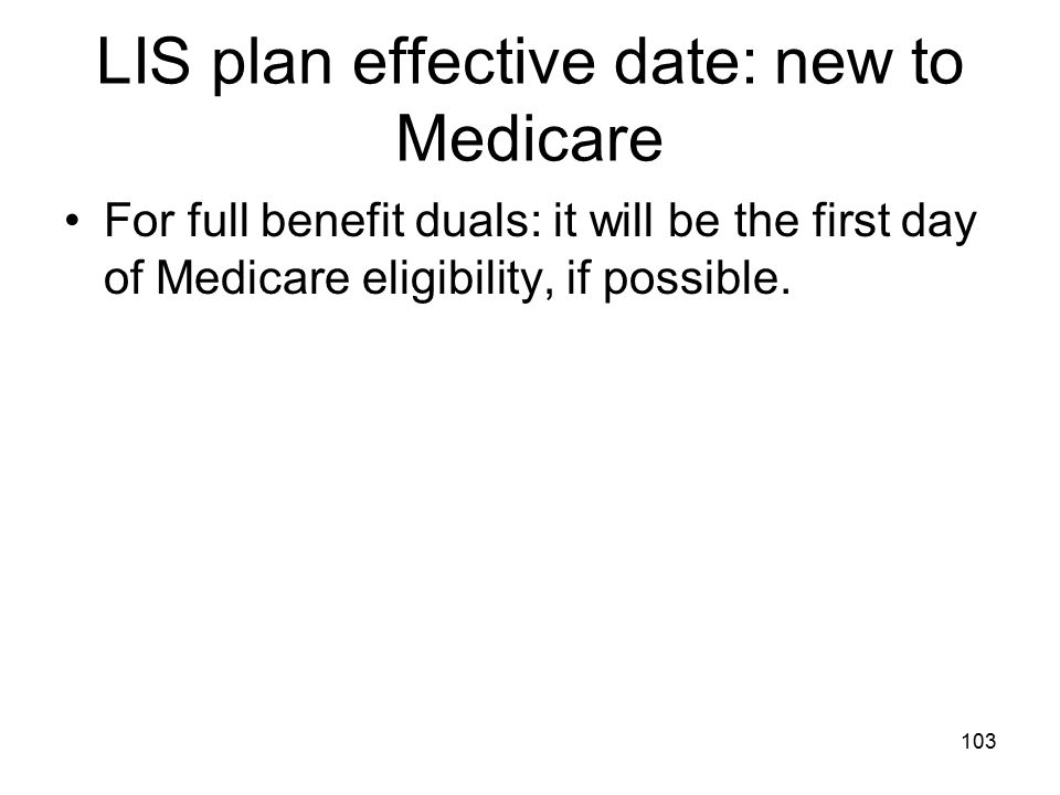 LIS plan effective date: new to Medicare