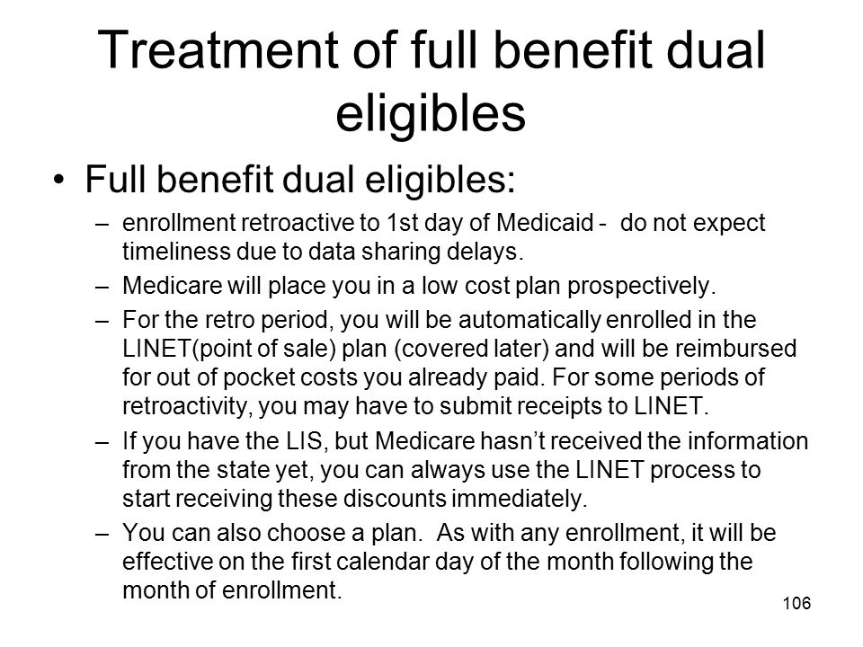 Treatment of full benefit dual eligibles