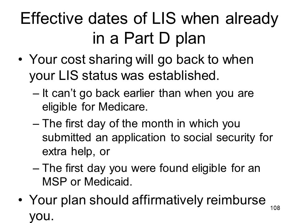 Effective dates of LIS when already in a Part D plan