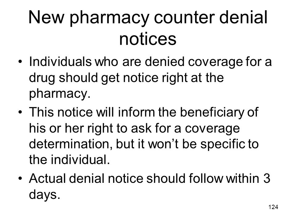 New pharmacy counter denial notices