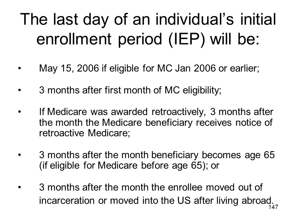 The last day of an individual's initial enrollment period (IEP) will be:
