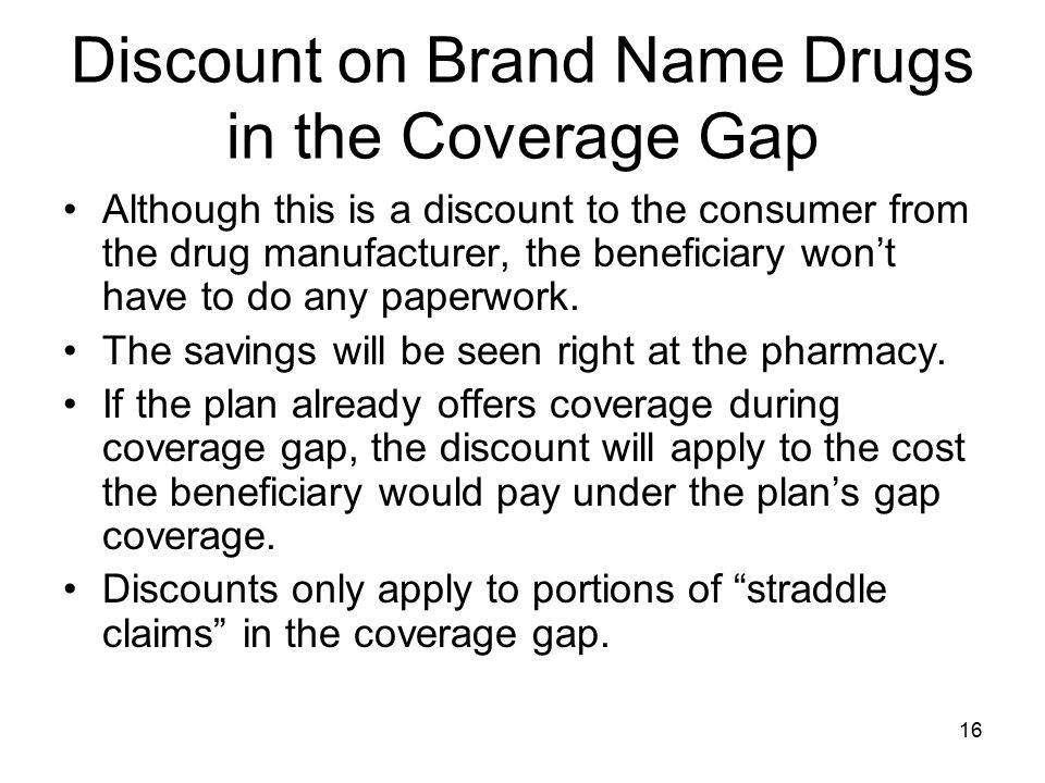 Discount on Brand Name Drugs in the Coverage Gap