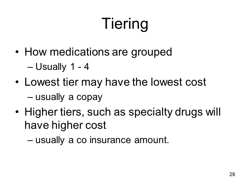 Tiering How medications are grouped