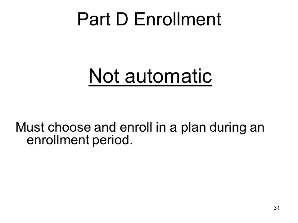 Not automatic Part D Enrollment