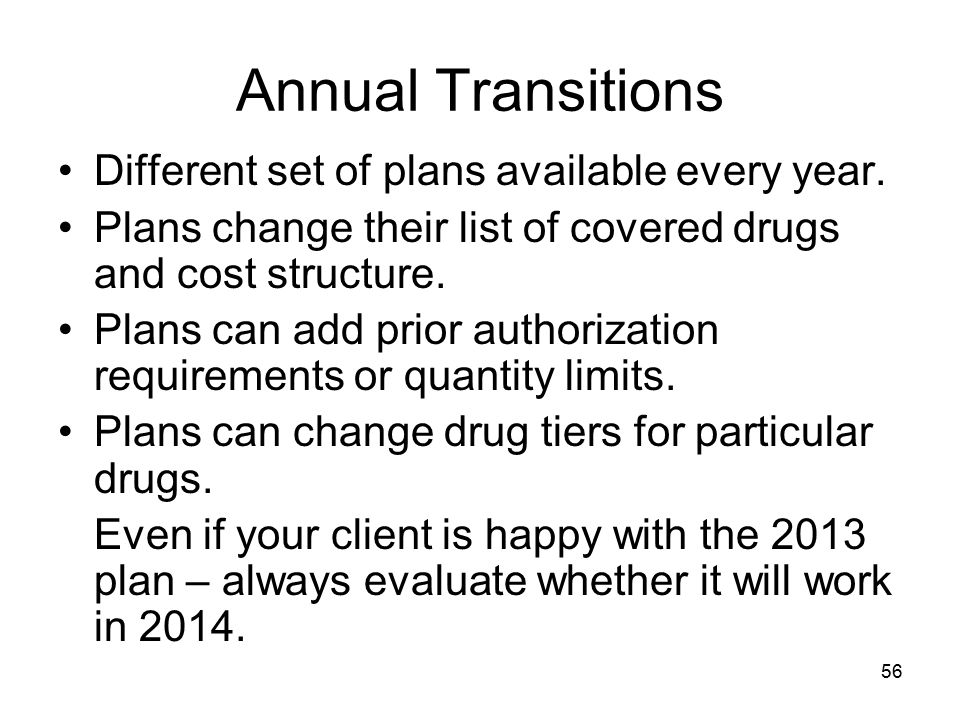 Annual Transitions Different set of plans available every year.