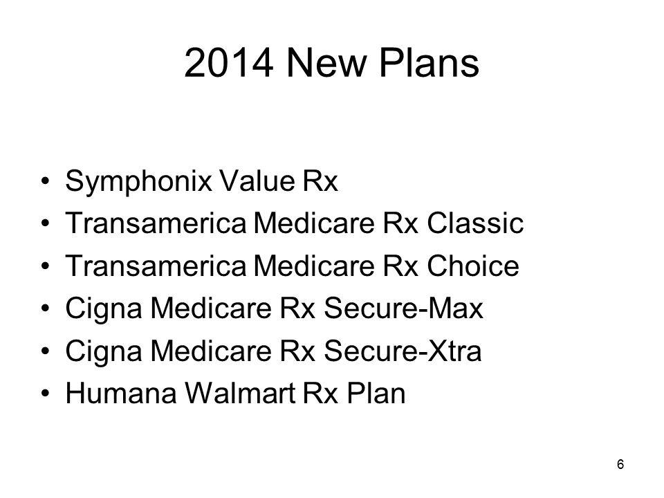 2014 New Plans Symphonix Value Rx Transamerica Medicare Rx Classic