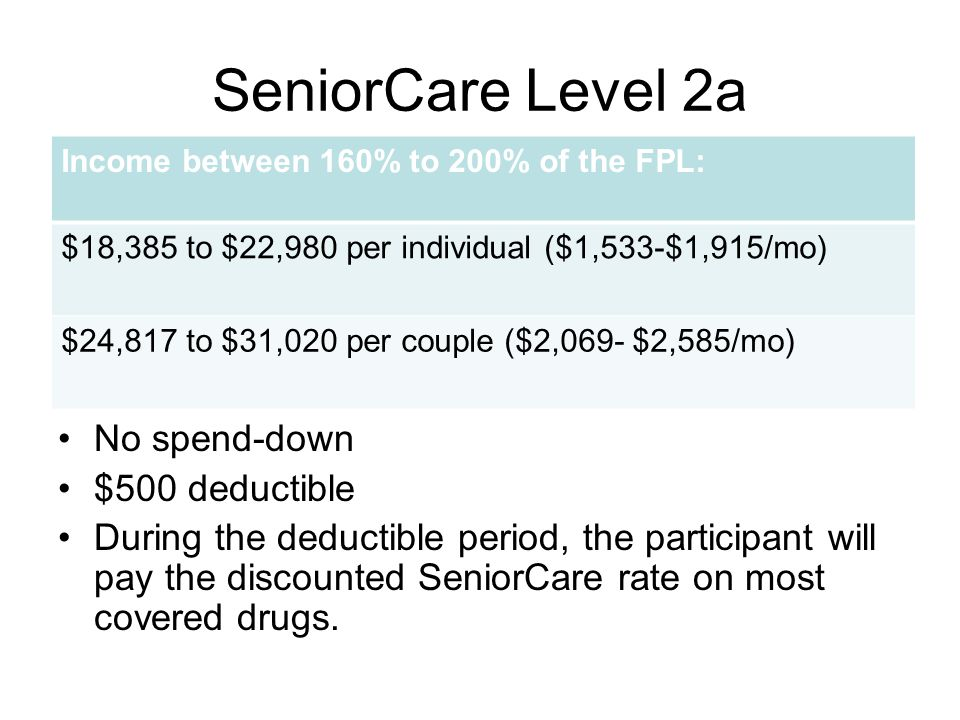 SeniorCare Level 2a No spend-down $500 deductible