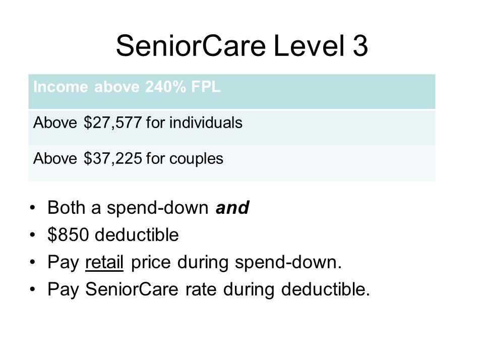 SeniorCare Level 3 Both a spend-down and $850 deductible