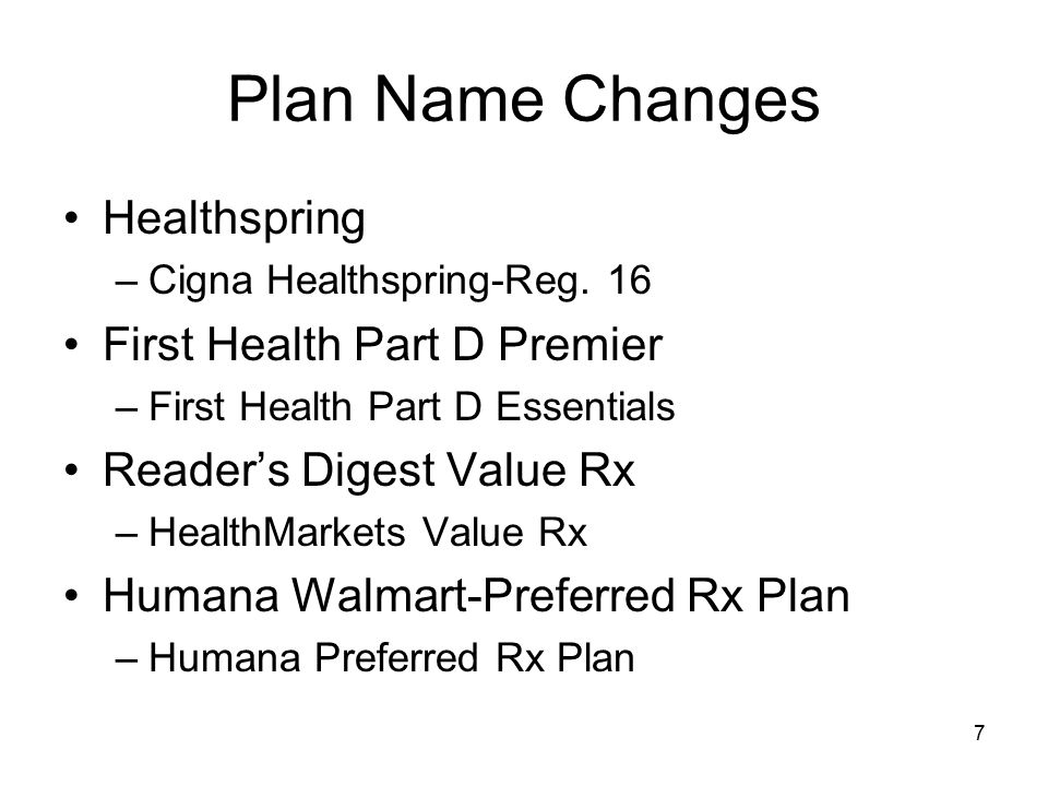 Plan Name Changes Healthspring First Health Part D Premier