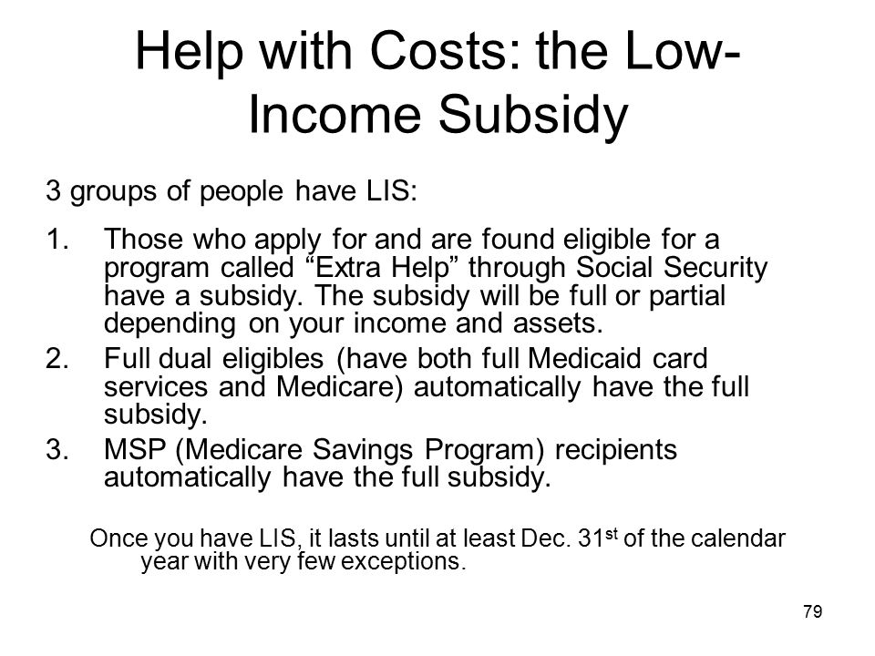 Help with Costs: the Low-Income Subsidy