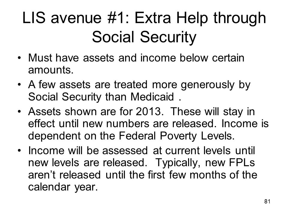 LIS avenue #1: Extra Help through Social Security