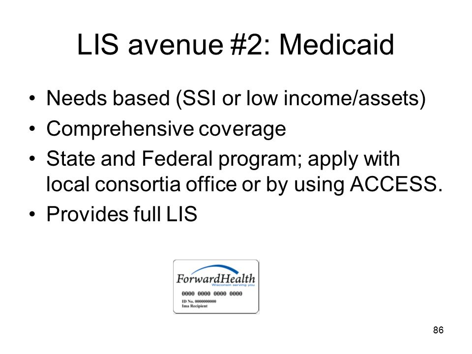 LIS avenue #2: Medicaid Needs based (SSI or low income/assets)