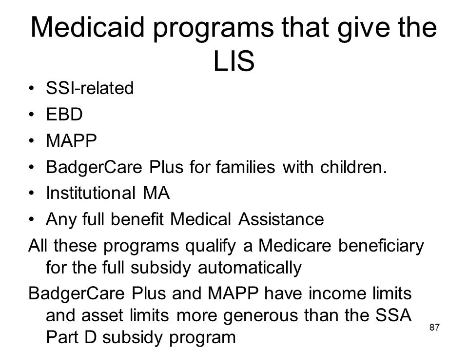 Medicaid programs that give the LIS