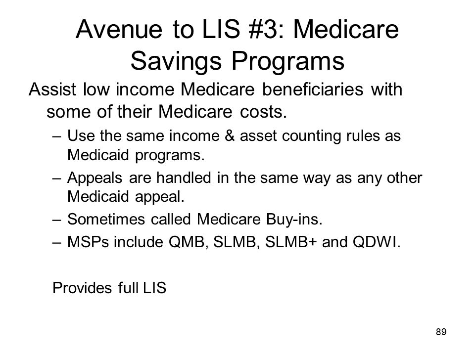 Avenue to LIS #3: Medicare Savings Programs